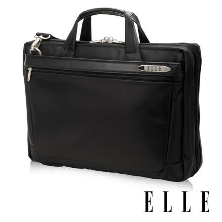 ELLE HOMME 紳士皮革公事包13吋筆電置物層 側背手提兩用設計-黑色 EL74163A-02