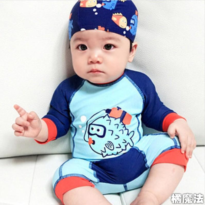 藍色小河豚 平角連身泳衣 (附泳帽) 沖浪服 防曬泳衣橘魔法 童 泳衣 男童【p0061185858235】