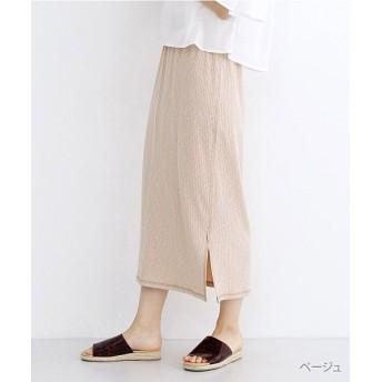メルロー 杢調ワイドリブナロースカート レディース ベージュ FREE 【merlot】