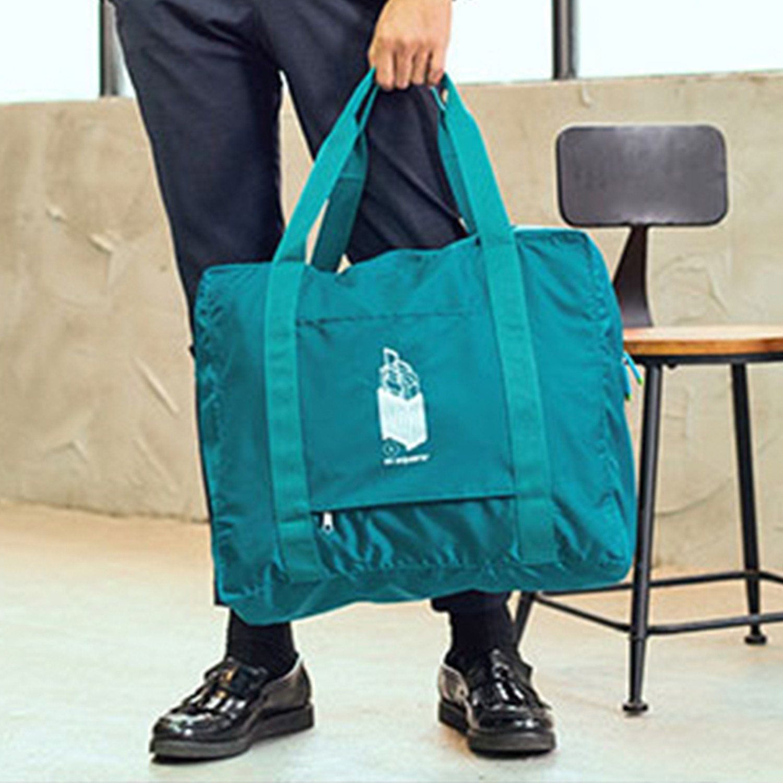 m square - 商旅系列Ⅱ尼龍折疊旅行購物袋L-湖水藍-33L