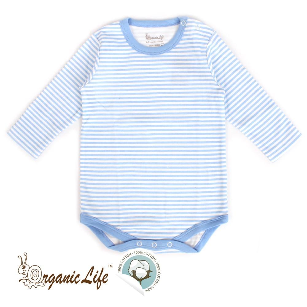 < 瑕疵品專區 >Organic Life長袖嬰兒連身包屁衣-藍條紋(0-12M)