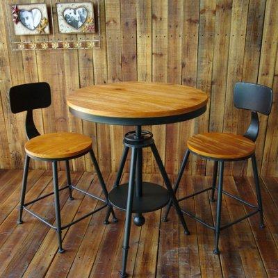 壹玖捌肆家具館※美式Loft設計工業風一桌二椅/陽台桌椅/咖啡桌椅/餐廳桌椅/北歐復刻實木/鄉村餐椅組/椅子是木面