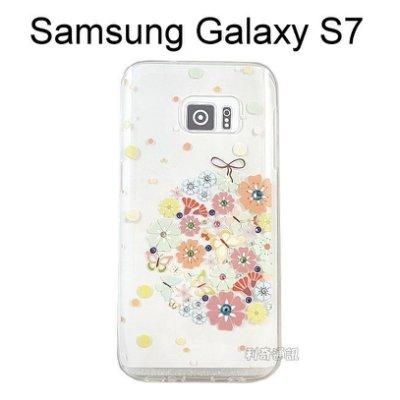 施華洛世奇彩鑽透明軟殼 [繡球花] Samsung Galaxy S7 G930FD