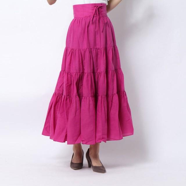 ロイヤルパーティー ROYAL PARTY ウエストマークティアードロングスカート (ピンク)