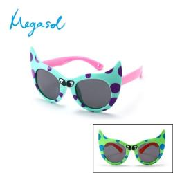 【MEGASOL】中性兒童男孩女孩UV400抗紫外線偏光兒童太陽眼鏡(可愛貓咪款KD8180-三色可選)