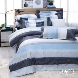 BUTTERFLY-台製40支紗純棉-薄式加大雙人床包枕套三件組-簡約線條
