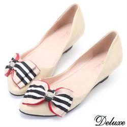 【Deluxe】全真皮俏皮可愛蝴蝶結娃娃鞋(-米-藍)-128-12A