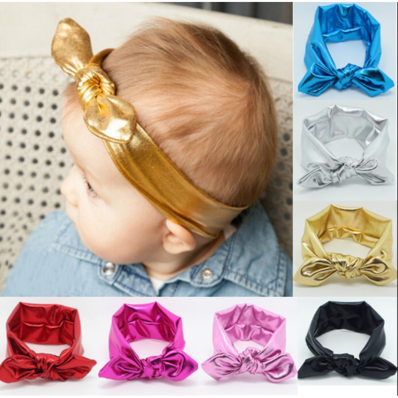 母嬰 童 歐美熱銷兒童燙金兔耳朵髮帶寶寶打結彈性頭帶批發 新生兒初生嬰兒服裝配飾頭飾