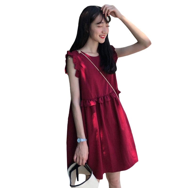 夏超仙森系紅色裙子很仙法國小眾甜美海邊度假三亞無袖洋裝女