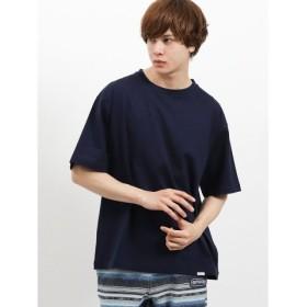 (TAKA-Q/タカキュー)ヴァンソン・エ・ミレイユ/VINCENT ET MIREILLE 度詰め天竺無地クルーネック半袖Tシャツ/メンズ ネイビー