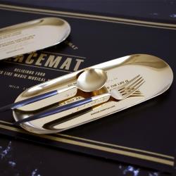 收納職人 原創北歐ins風刻字金屬不銹鋼首飾盤/托盤/收納盤(金色)