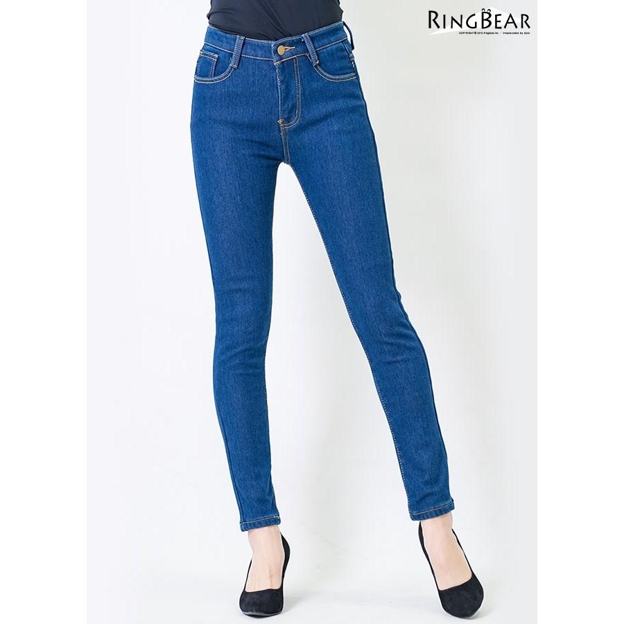 眼圈熊 中大尺碼 提臀顯瘦禦寒保暖前後雙口袋窄管撞色內刷毛牛仔長褲(藍S-5L)-N89