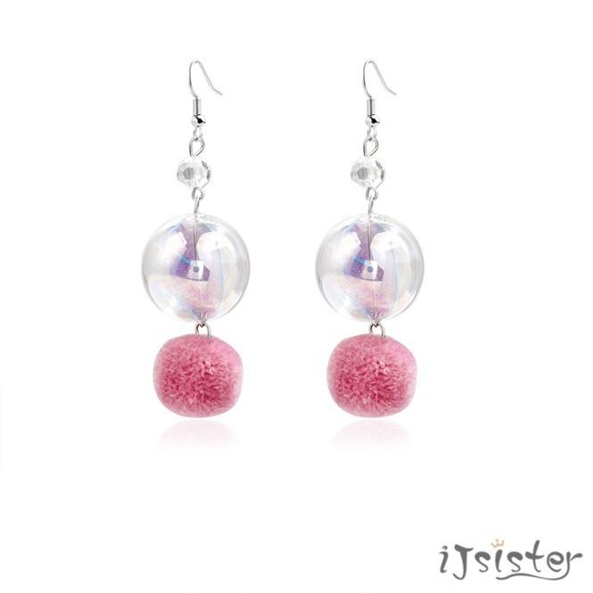 粉色毛球韓國氣質復古少女夢幻透明玻璃彩球毛絨耳勾耳夾耳環1162