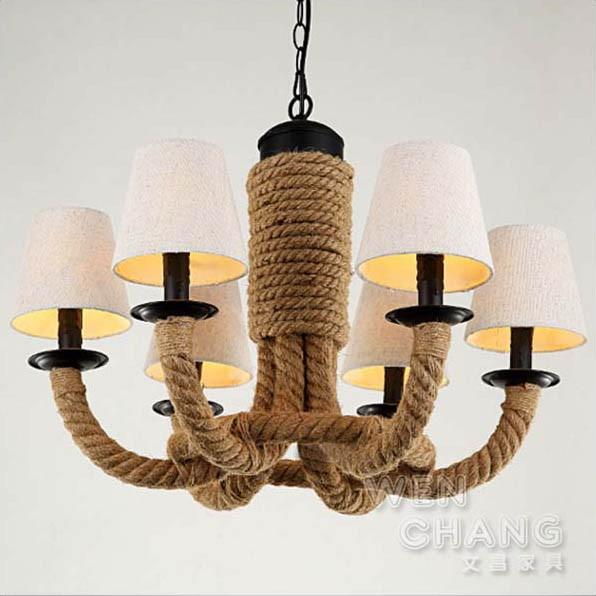 LOFT 復古工業風 維京麻繩環繞型布罩吊燈 布罩材質 6燈 主燈 LC-101 文昌家具