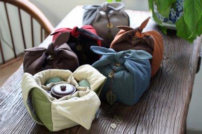 嵐雲茶業~高級棉麻一壺四杯組合包019旅行茶具攜帶包茶具收納袋