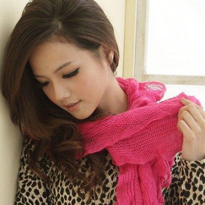 I-shi-波浪疊層厚款圍巾(桃紅)  特價↘$99