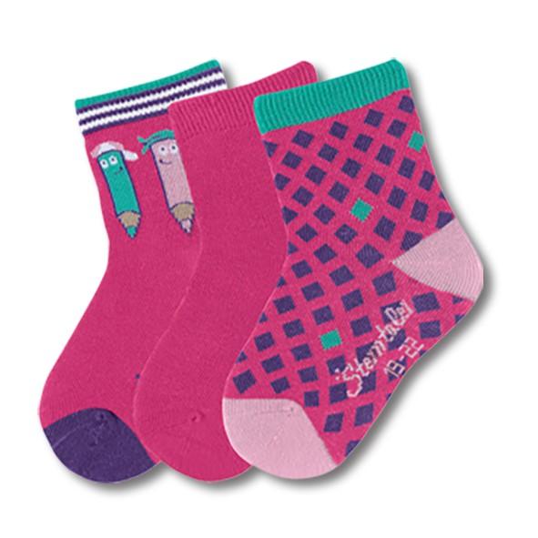STERNTALER寶寶襪子3入組-鉛筆格紋-桃(8-14cm) C-8321620-745