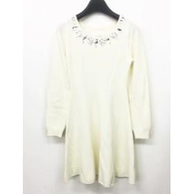 【中古】レディ Rady ニット ワンピース ミニ丈 長袖 ウール ビジュー装飾 白 ホワイト F 0612 レディース