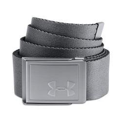Under Armour 2018男時尚金屬UA浮雕標灰色雙面帆布腰帶