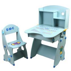EMC 新款防夾手木質兒童升降成長書桌椅-兩色可選