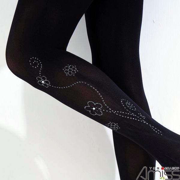 【Amiss】水鑽燙銀褲襪-朵朵小花(A706-19)