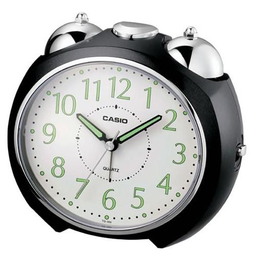 【CASIO】圓弧流線造型鬧鐘-黑(TQ-369-1)正版宏崑公司貨