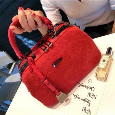 【MISS.LENG】#2017新款真皮磨砂皮氣質時尚潮百搭簡約新娘包斜挎包單肩包包