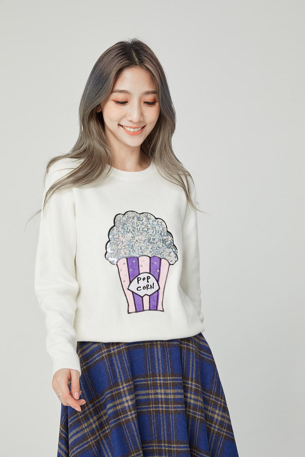 CKN181250 亮片爆米花圖案羊毛針織上衣/二色
