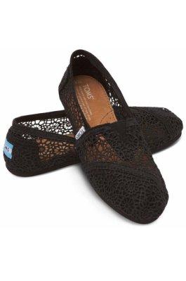 Miss ♥ Shoes - 正品美國品牌TOMS帆布鞋Morocco Crochet蕾絲簍空款【黑】現貨+預購