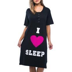 Love21 女大尺碼居家連身寬鬆圖騰黑色短袖睡衣(預購)