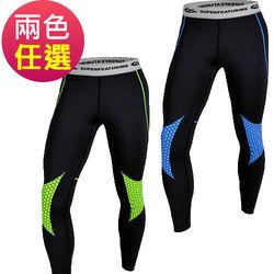 【SUPERFEATURING】專業跑步 三鐵 Hicolor運動壓縮緊身褲(兩色)