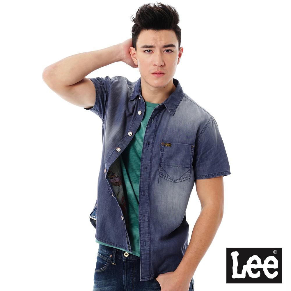 Lee 101+ 牛仔短袖襯衫 男 藍色