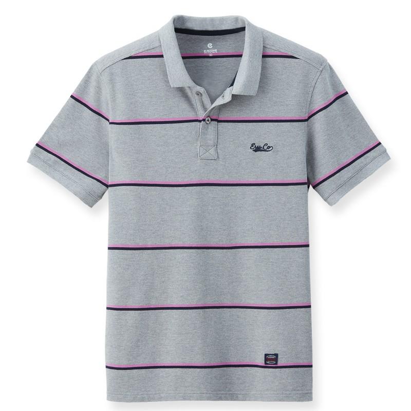 【ERSS】短袖細條紋POLO衫 - 男 麻灰 K70021