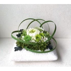 和風アレンジ♪輪菊 グリーン 緑 薔薇 和風 プリザーブドフラワーブリザードフラワー プレゼント