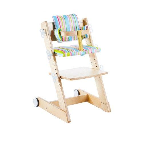 大將作 kid2youth - Qmomo 兒童成長餐椅(附輪) 套組-白樺木-五彩條橫椅墊