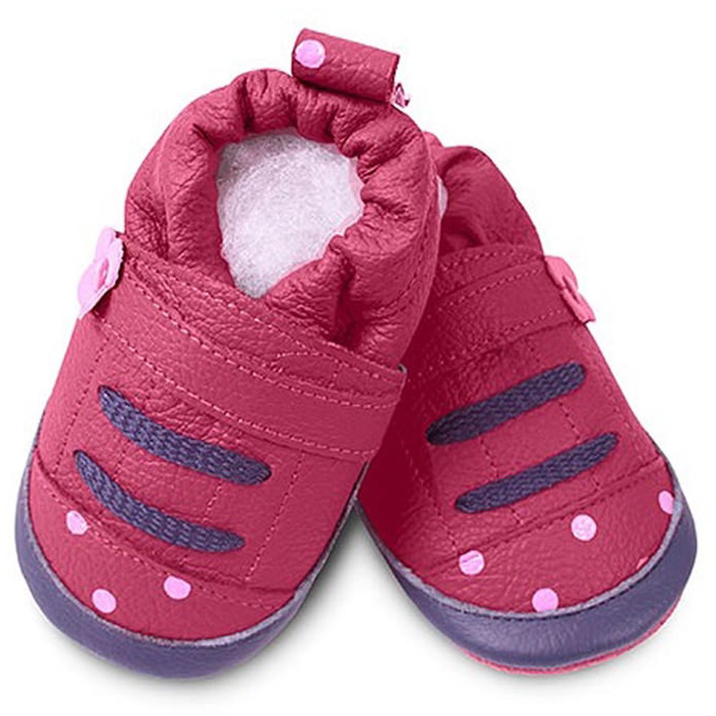 英國 shooshoos - 健康無毒真皮手工鞋/學步鞋/嬰兒鞋/室內鞋/室內保暖鞋-桃紅點點運動型