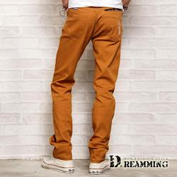 【Dreamming】格紋膠印口袋伸縮休閒長褲(棕色)