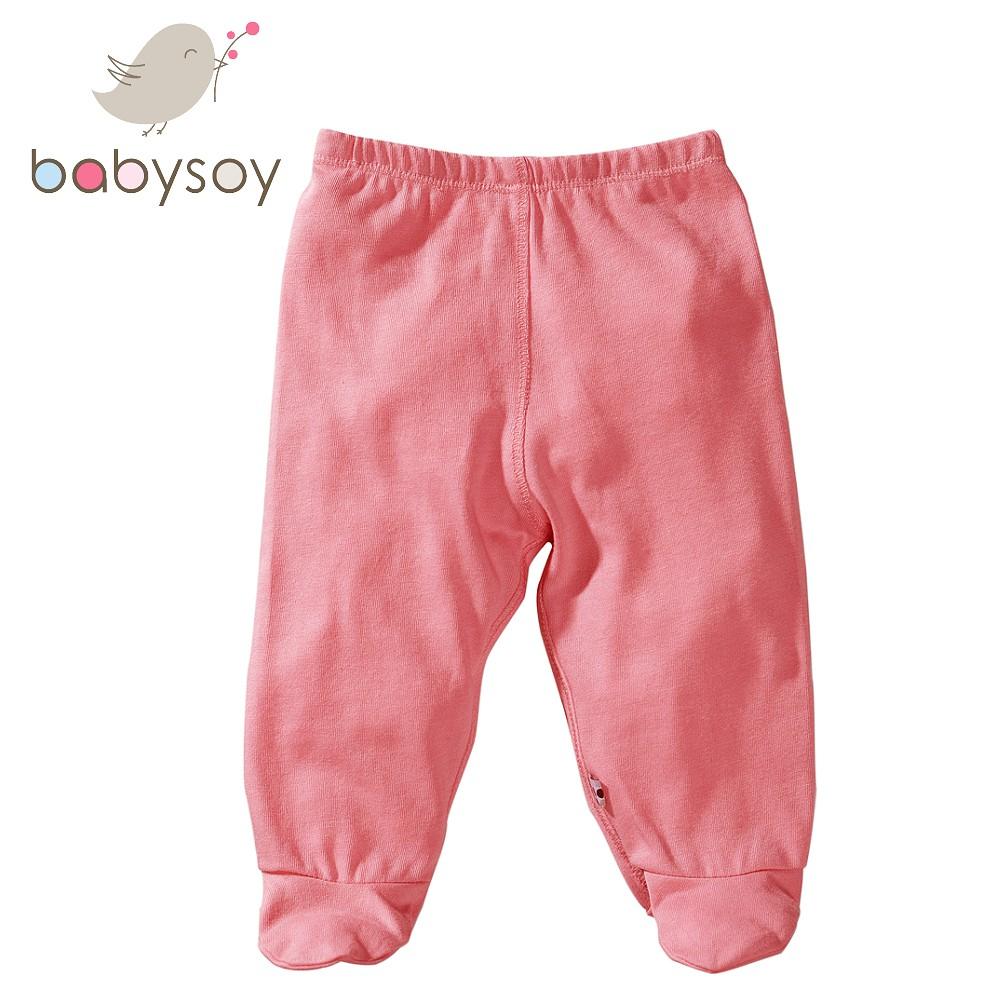 美國[Babysoy] 有機棉百搭彈性包腳長褲525 玫瑰粉