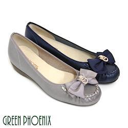 GREEN PHOENIX 緞面蝴蝶結幾何圖形金屬水鑽全真皮小坡跟娃娃鞋-藍色、灰色