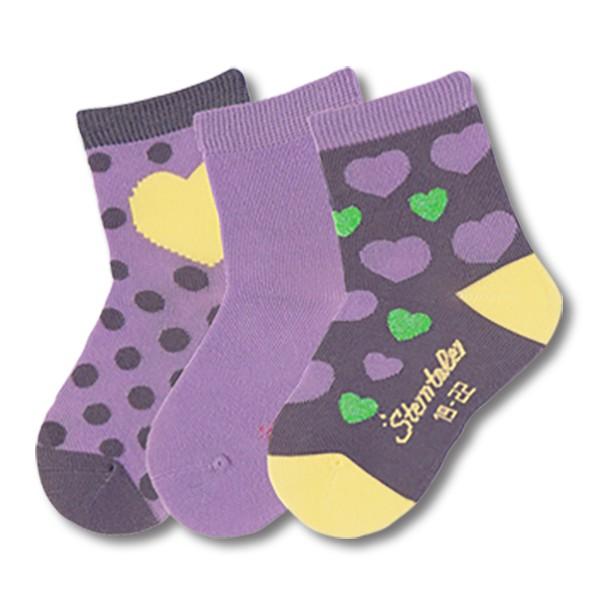 STERNTALER寶寶襪子3入組-愛心紫(8-14cm) C-8321624-526