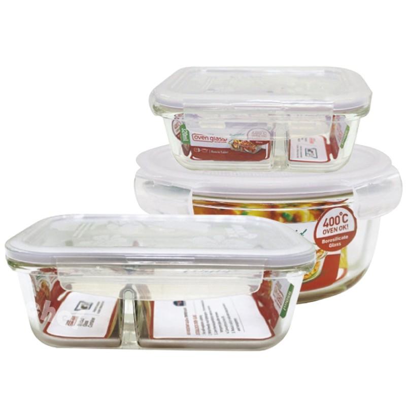樂扣樂扣耐熱玻璃分隔保鮮盒分格便當盒320ml/900ml/950ml/三件組
