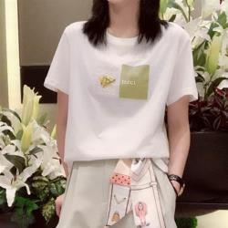 【Abbie】韓款寬鬆顯瘦亮片乾燥花純棉短袖上衣