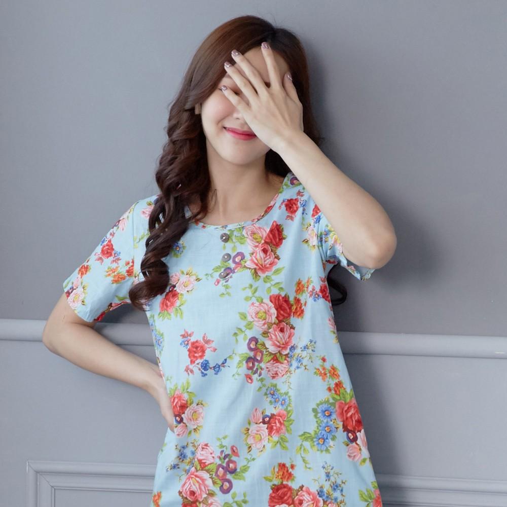 【Wonderland】日系氣質棉麻感花樣上衣(淺藍)