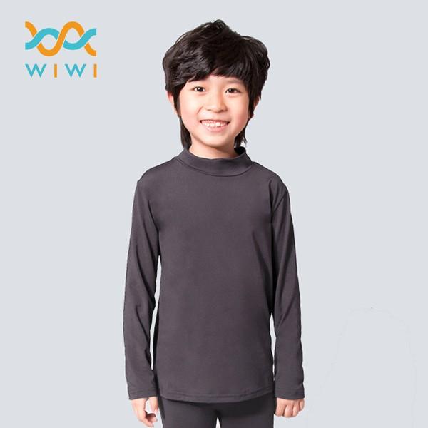 【WIWI】MIT溫灸刷毛立領發熱衣(銀河灰 童70-150)