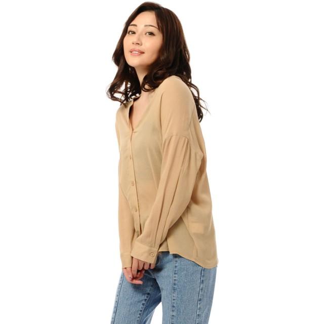 エゴイスト EGOIST 楊柳シフォンノーカラーシャツ (BEIGE)