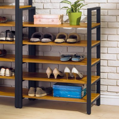 【優比傢俱生活館】20 輕鬆購-工業風柚木色集層木心板2.7尺開放式低鞋架/鞋櫃 GD324-3