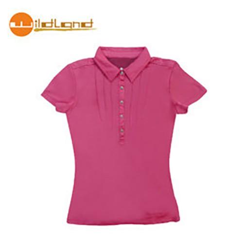 【Wildland】81621-20 女椰炭本布領排汗衣 玫瑰紅色 (S x 1)