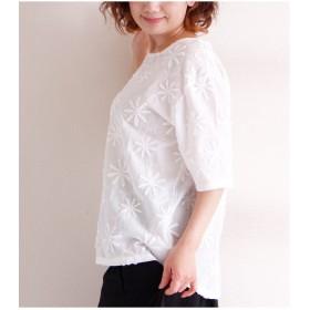 シャツ - Sawa a la mode 立体的な花刺繍模様のコットントップス レディース ファッション トップス ホワイト 5分袖 花 刺繍 コットン 春 夏 花模様 総柄Uネック ナチュラル ふんわり 可愛い お洒落 40代 50代 60代 otona kawaii Sawa