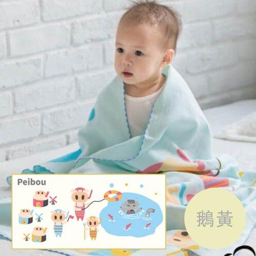 貝柔 Peilou - 童話抗菌紗布浴巾-三隻小豬-鵝黃 (70x140cn)