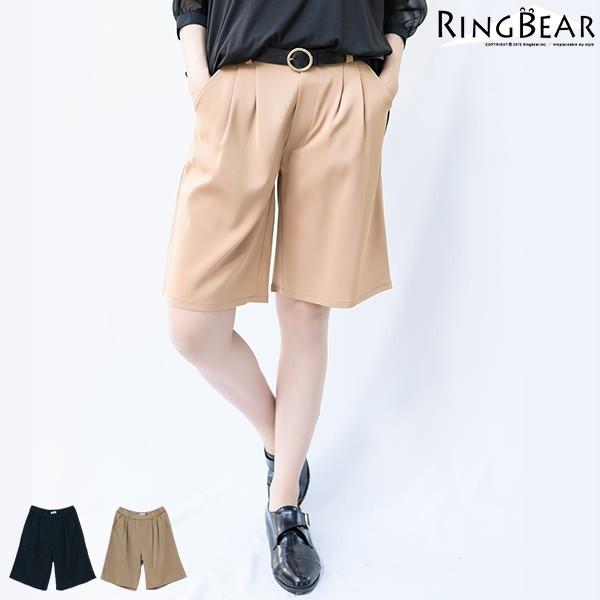 眼圈熊 中大尺碼 韓版率性俐落輕鬆自在素色款打摺後鬆緊雙口袋五分寬褲(黑.卡其XL-4L)-R175